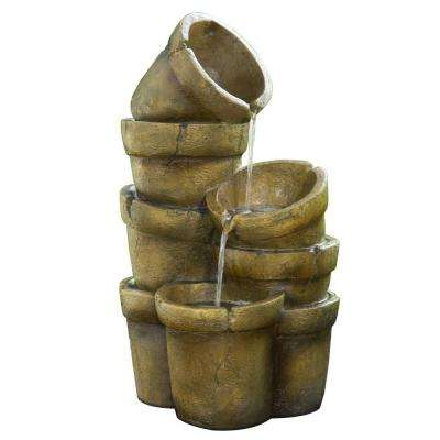 Outdoor Stacked Pots Waterfall Fountain