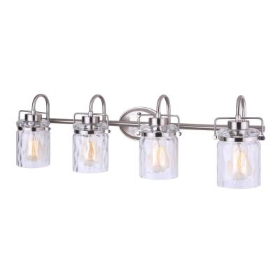 Arden 34.5 in. 4-Light Brushed Nickel Vanity Light with Watermark Glass Shade