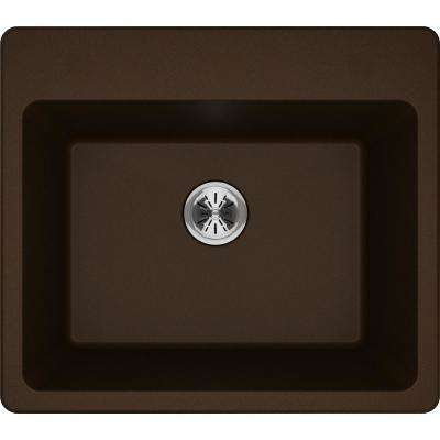 Quartz Classic Perfect Drain Drop-In 25 in. Laundry Sink in Mocha