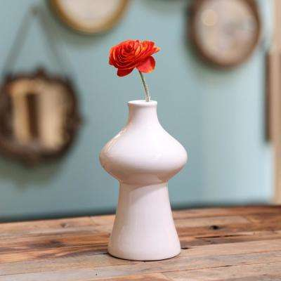 White Gloss Stoneware Decorative Vase