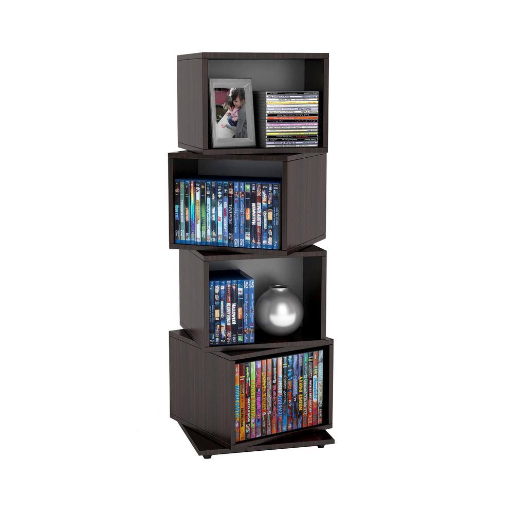 Atlantic Espresso Media Tower, Medium-Brown Wood Atlantic, Inc. The Rotating Media Storage Cube offers a unique storage solution for media, photos, accent items and collectables. The four large storage compartments use minimal floor space. Comes in espresso finish. Color: Medium-brown Wood.