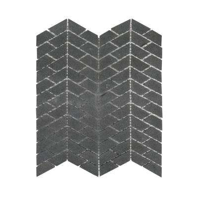 Riverfall Gray 10.625 in. x 12.125 in. x 8 mm Chevron Honed Basalt Wall and Floor Mosaic Tile