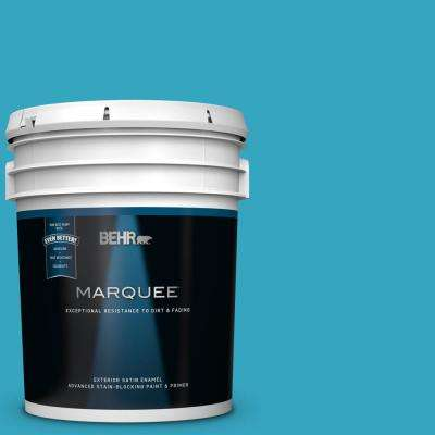 5 gal. #MQ4-52 Gulf Waters Satin Enamel Exterior Paint and Primer in One