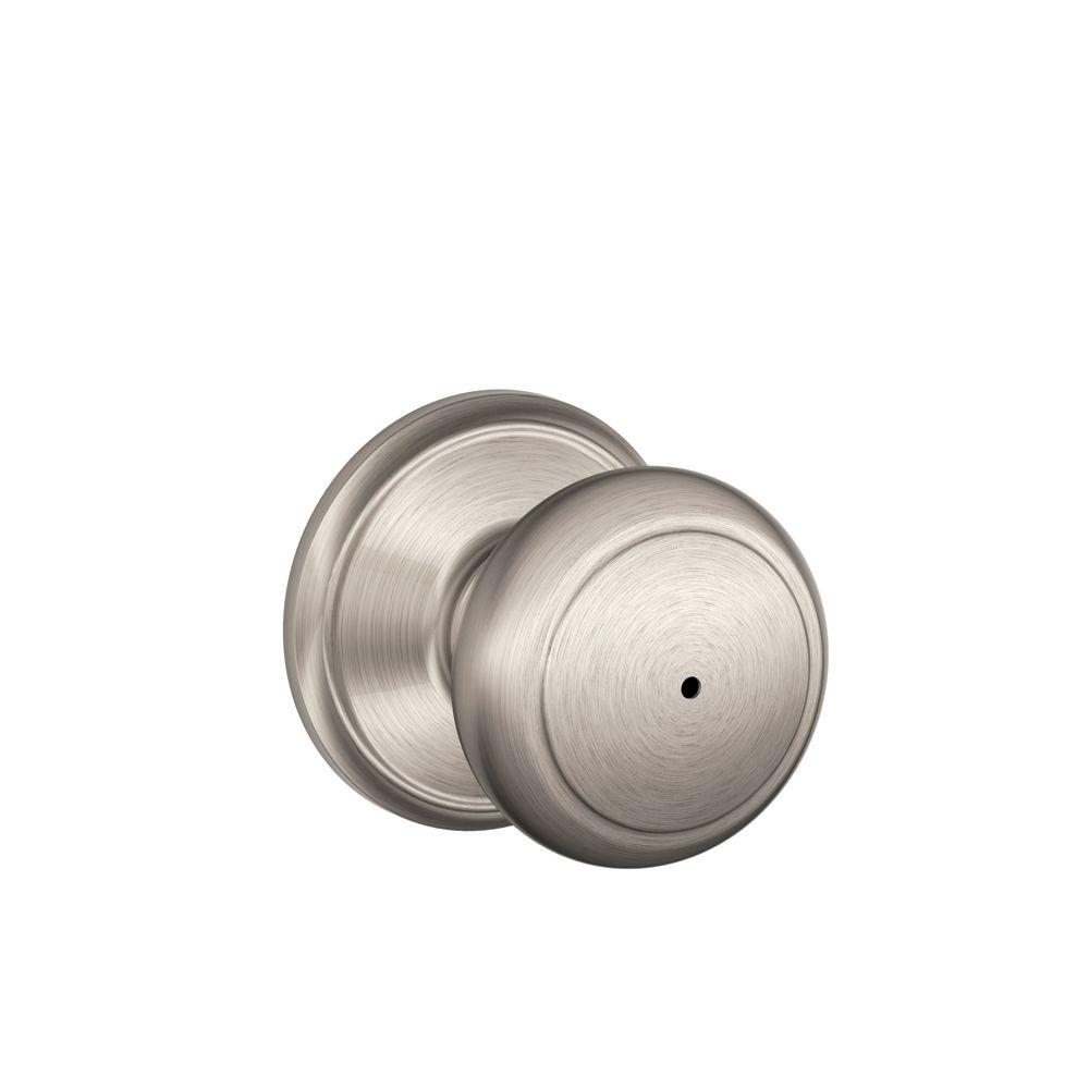 Schlage Andover Satin Nickel Bed and Bath Knob