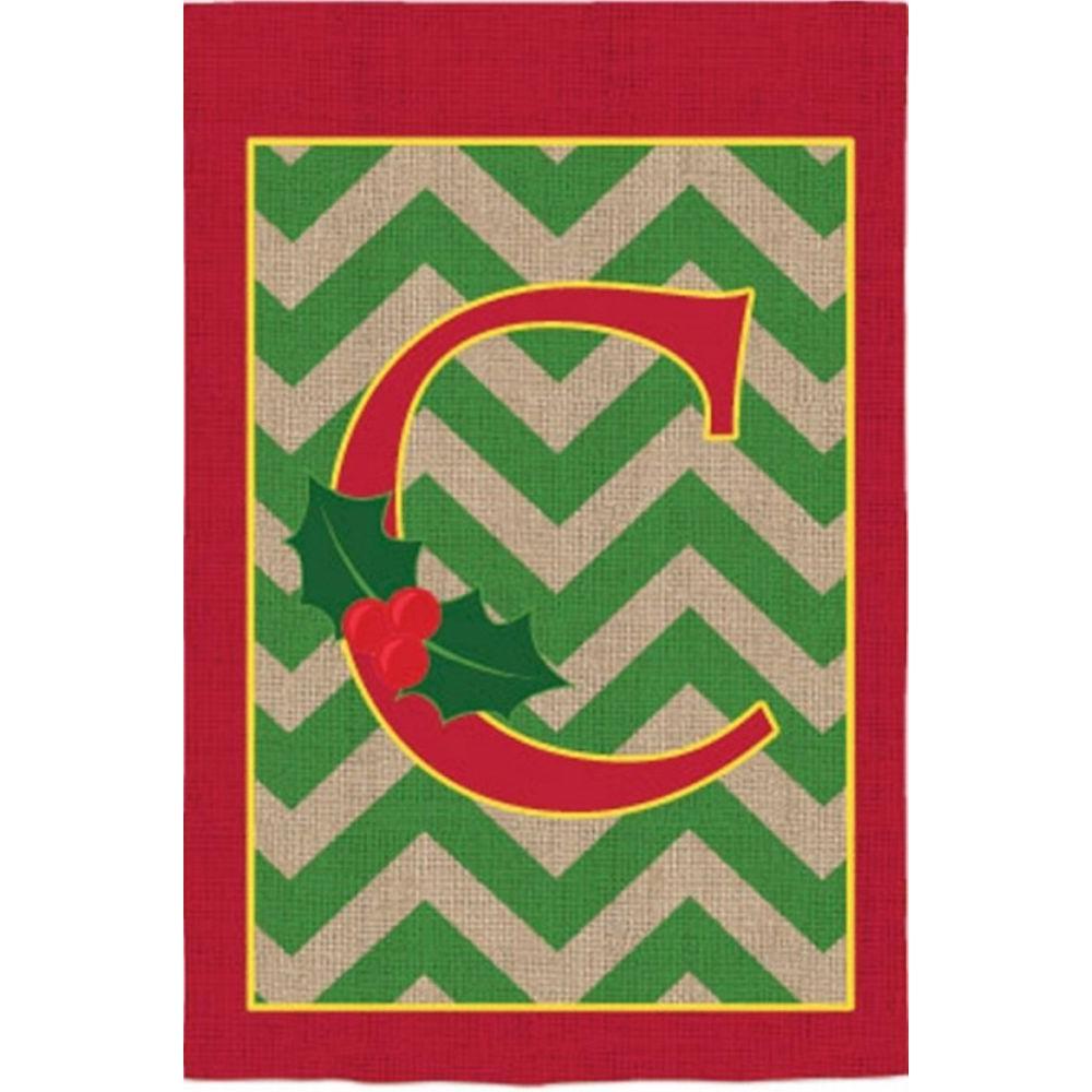 Evergreen 2-1/3 ft. x 3-2/3 ft. Monogrammed C Holly Burlap House ...