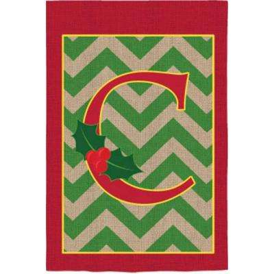 2-1/3 ft. x 3-2/3 ft. Monogrammed C Holly Burlap House Flag