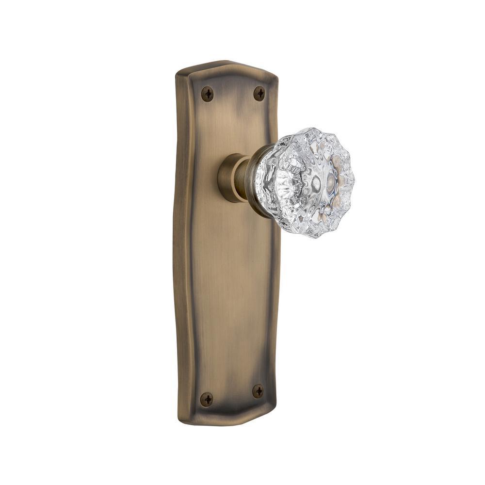 Prairie Plate Single Dummy Crystal Glass Door Knob in Antique Brass