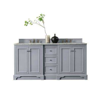 De Soto 72 in. W Double Vanity in Silver Gray with Marble Vanity Top in Carrara White with White Basin