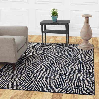 Jasmin Collection Cubes Design Navy and Ivory 7 ft. x 9 ft. Area Rug