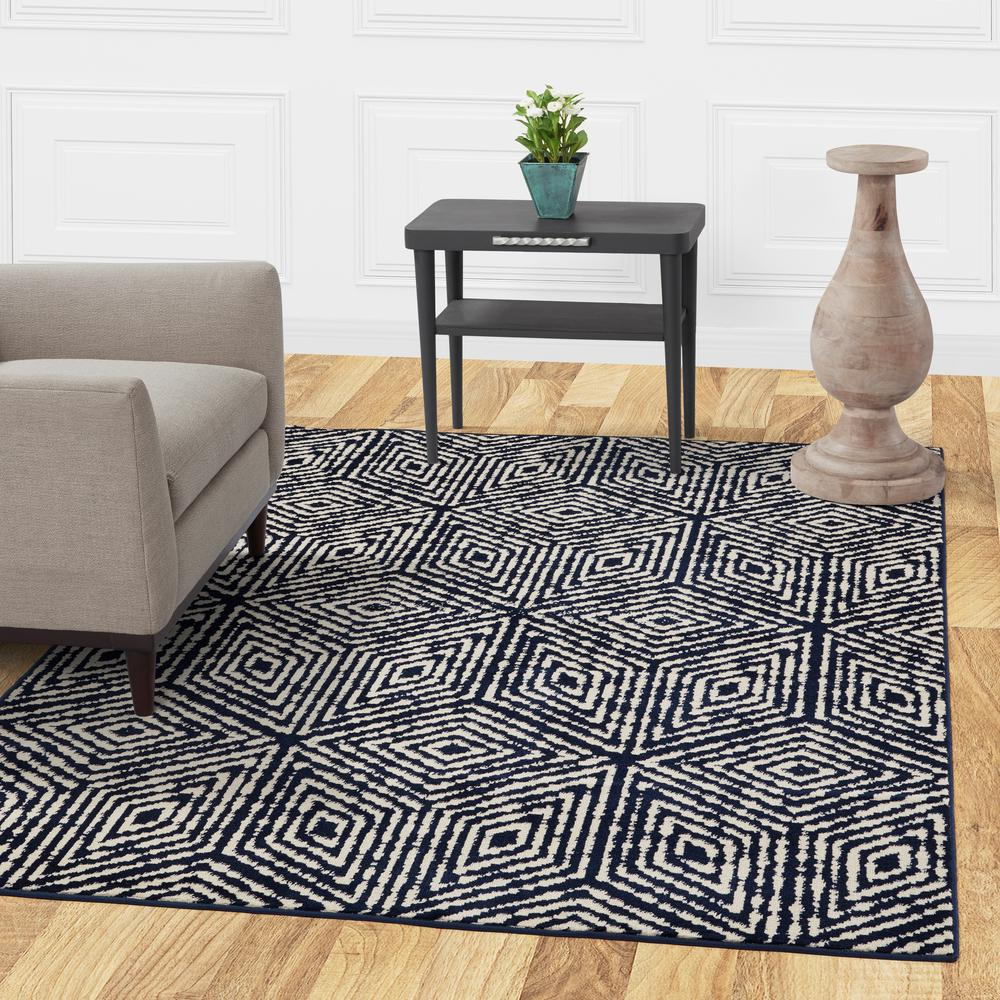 Navy Area Rug 8x10.Diagona Designs Jasmin Collection Cubes Design Navy And Ivory 8 Ft X 10 Ft Area Rug