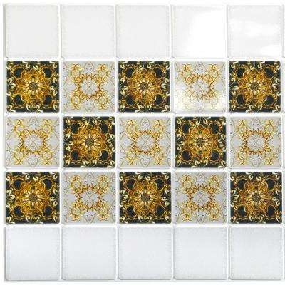 3D Falkirk Retro 10/1000 in. x 38 in. x 19 in. White Black Gold Abstract Fractal Patterns PVC Wall Panel