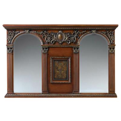 Royal 41 in. H x 64 in. W Double Mirror in Light Coffee Frame-DISCONTINUED