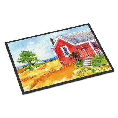 18 in. x 27 in. Indoor/Outdoor Old Red Cottage House at The Lake or Beach Door Mat