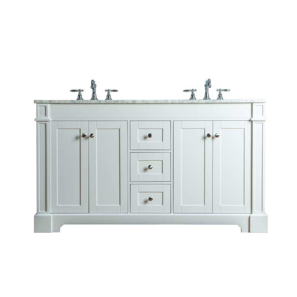 Seine 60 in. W x 22 in. D Bath Vanity in White with Marble Vanity Top in Carrara White with White Basin