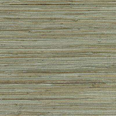 8 in. x 10 in. Shandong Sea Green Grass Cloth Wallpaper Sample