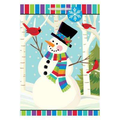 28 in. x 20 in. x 7 in. Christmas Smiling Snowman Glitter Paper Jumbo Bag (5-Pack)