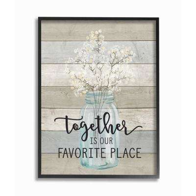"""16 in. x 20 in. """"Together is Our Favorite Place"""" by Lettered and Lined Wood Framed Wall Art"""