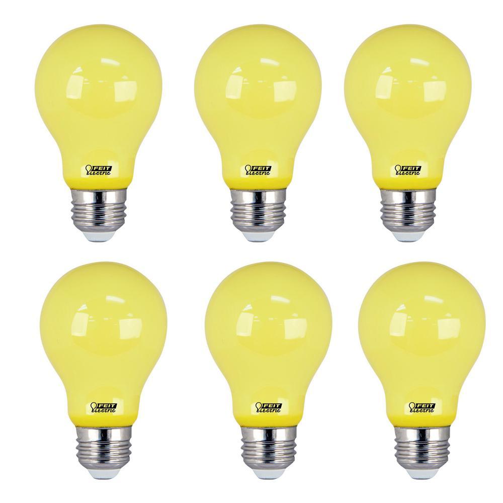 5-Watt A19 60-Watt Equivalent Medium E26 Base Non-Dimmable Yellow Colored LED Bug Light Bulb (6-Pack)