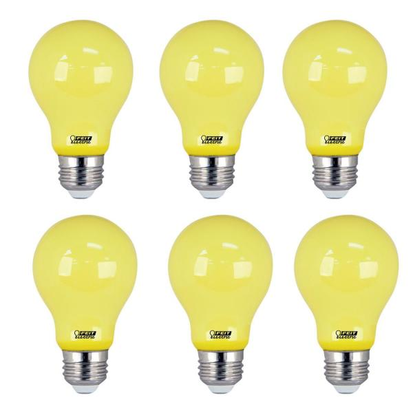 Feit Electric 5 Watt A19 60 Watt Equivalent Medium E26 Base Non Dimmable Yellow Colored Led Bug Light Bulb 6 Pack A19 Bug Led 6 The Home Depot