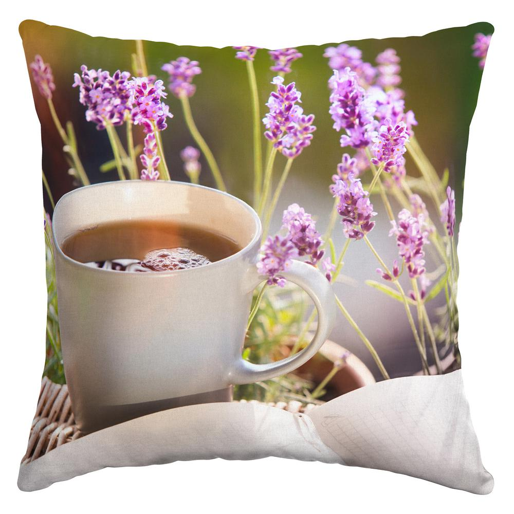 Lavender Tee Square Outdoor Throw Pillow