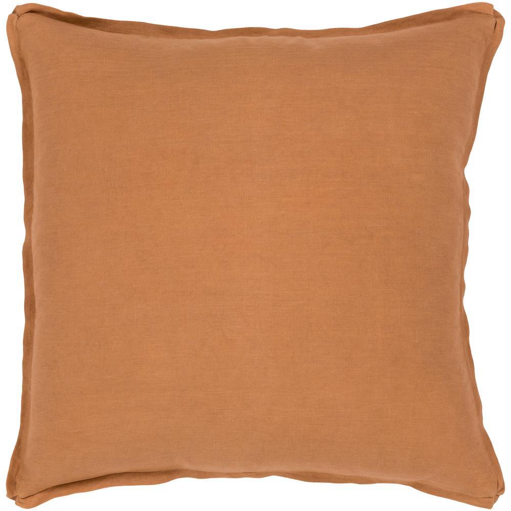 Zevgari Burnt Orange Solid Polyester 20 in. x 20 in. Throw Pillow