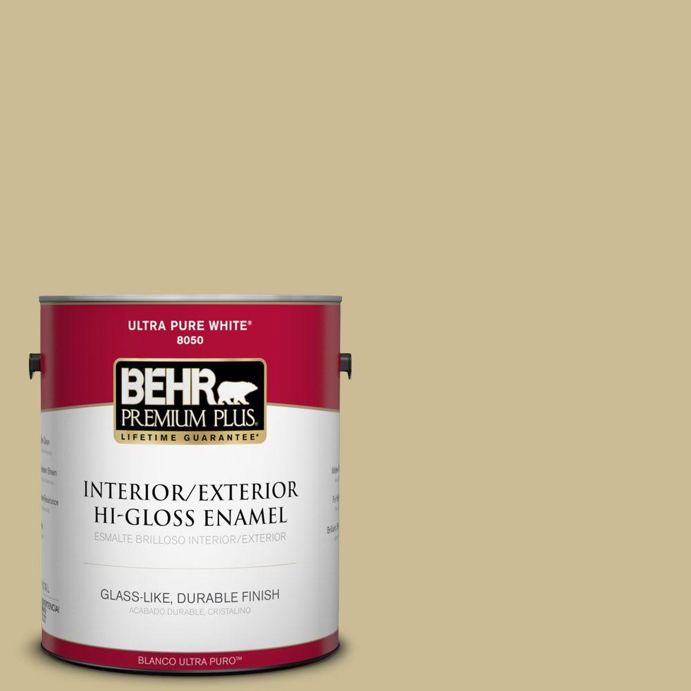 BEHR Premium Plus 1-gal. #M330-4 Morning Tea Hi-Gloss Enamel Interior/Exterior Paint