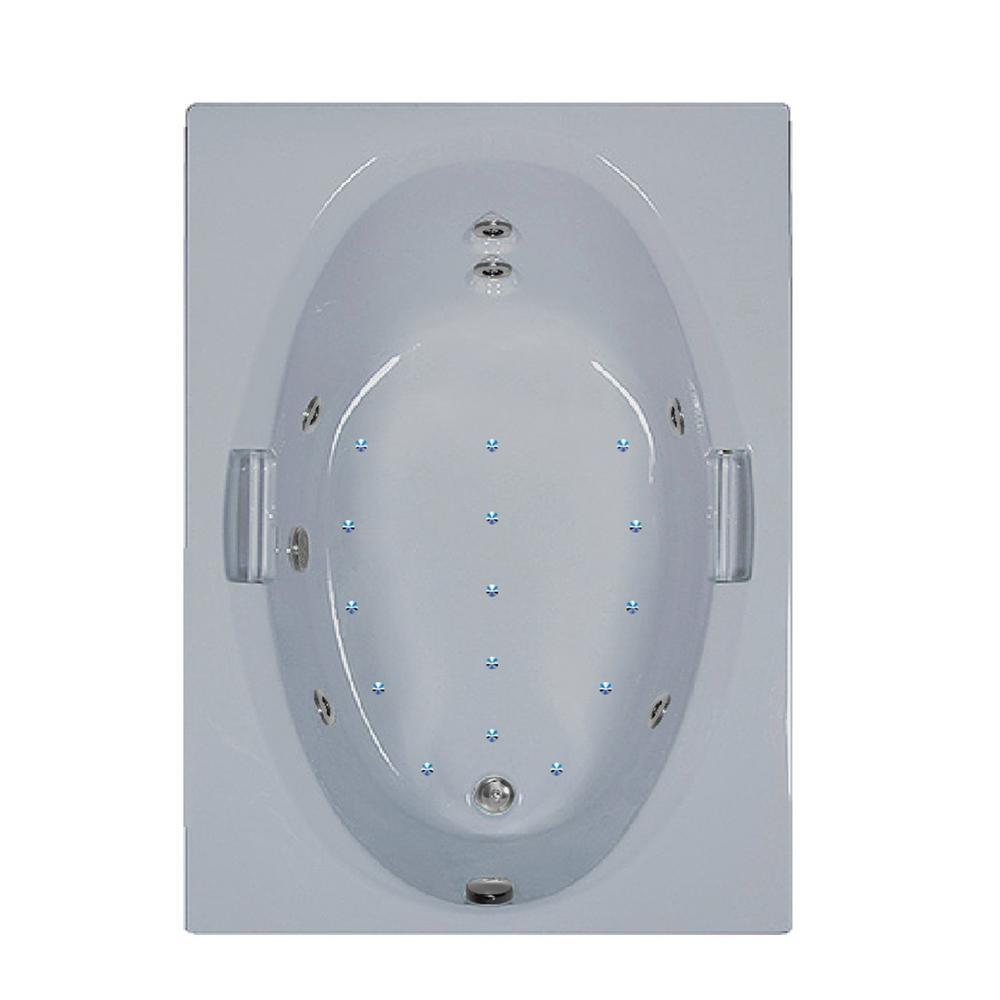60 in. Acrylic Rectangular Drop-in Air and Whirlpool Bathtub in Black