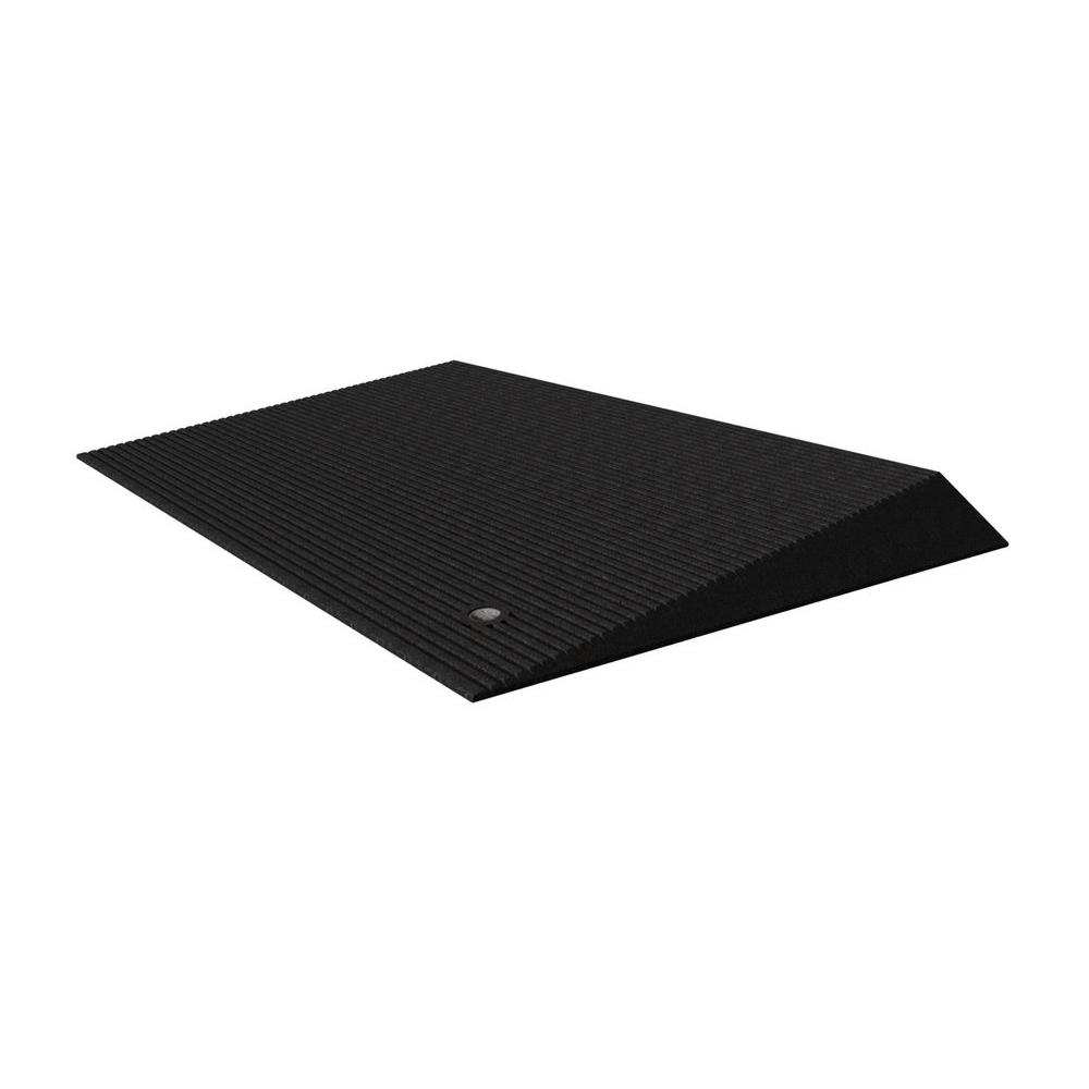 EZ-ACCESS TRANSITIONS Black Rubber Threshold Mat with Beveled Edges 14 in   L x 40 in  W x 1 5 in  H
