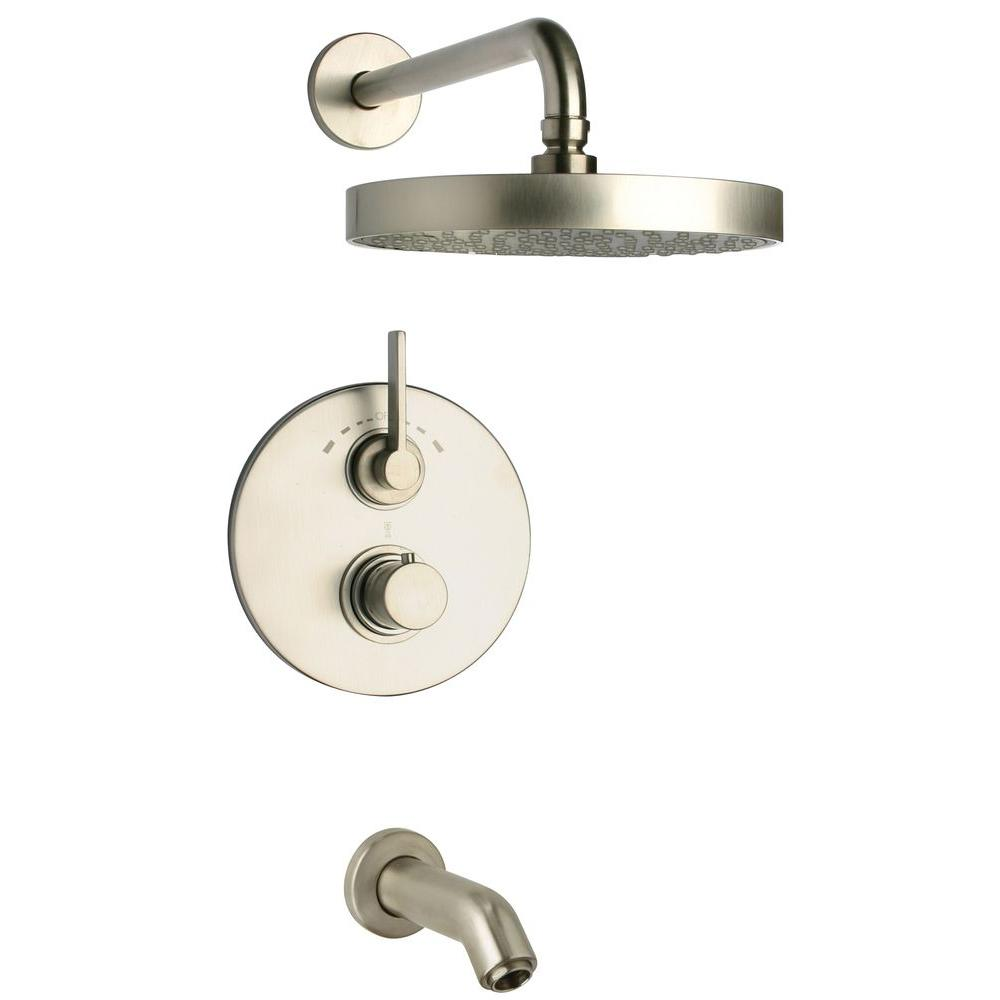 Latoscana Elix 2 Handle 1 Spray Thermostatic Tub And Shower Faucet In Brushed Nickel