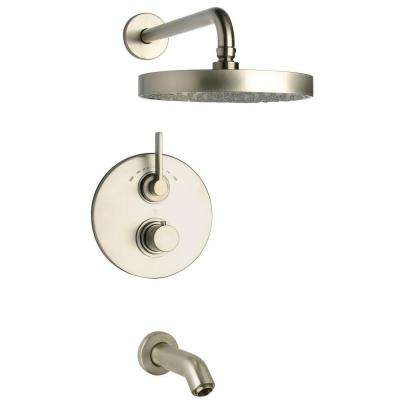 Elix 2-Handle 1-Spray Thermostatic Tub and Shower Faucet in Brushed Nickel (Valve Included)