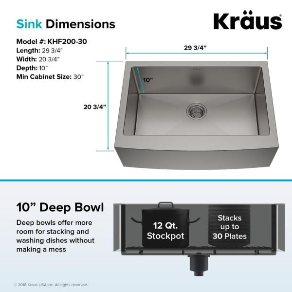 Kraus Standart Pro Farmhouse Apron Front Stainless Steel 30 In Single Bowl Kitchen Sink Khf200 30 The Home Depot