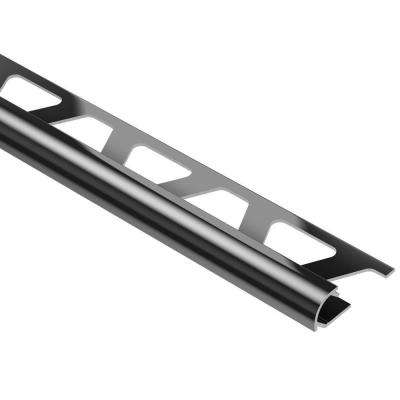 Rondec Bright Black Anodized Aluminum 1/2 in. x 8 ft. 2-1/2 in. Metal Bullnose Tile Edging Trim