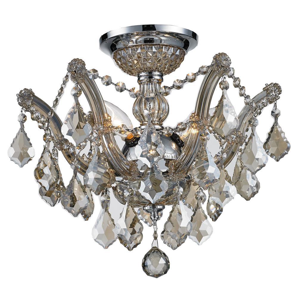 Bayou 3-Light Chrome Semi-Flush Mount Light with Golden Teak Crystal