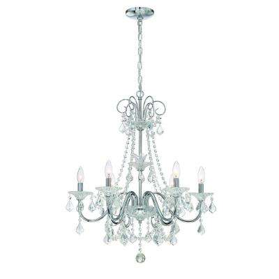 Marvelous 6 Light Chrome Crystal Chandelier