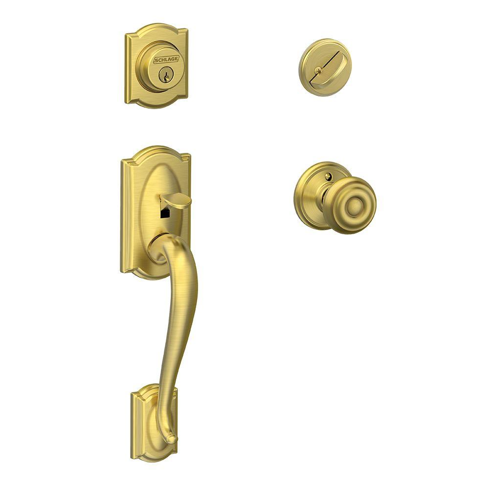Schlage Camelot Satin Brass Single Cylinder Deadbolt with Georgian Knob Door Handleset