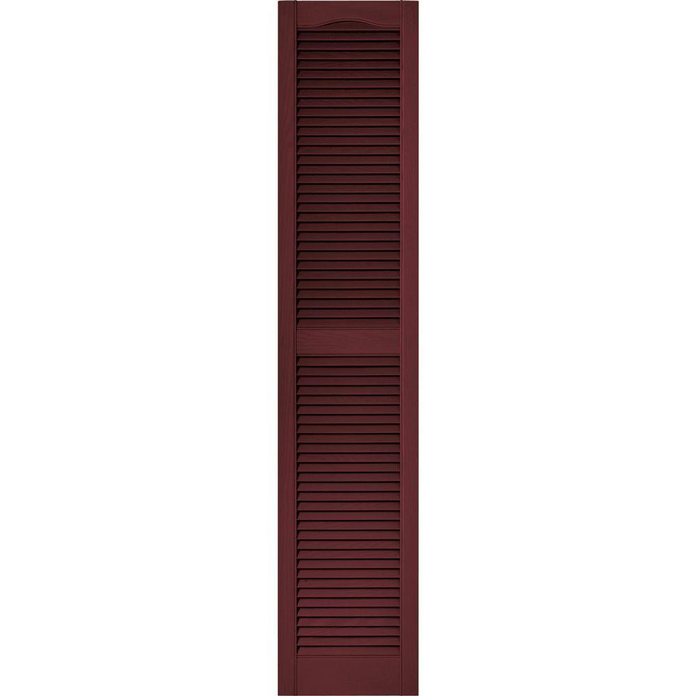 Louvered Vinyl Exterior Shutters Pair In #078 Wineberry 010140072078   The  Home Depot