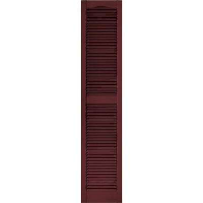 15 in. x 72 in. Louvered Vinyl Exterior Shutters Pair in #078 Wineberry