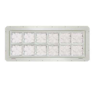 46.75 in. x 16.75 in. x 3.25 in. Wave Pattern Glass Block Window with White Vinyl Nailing Fin