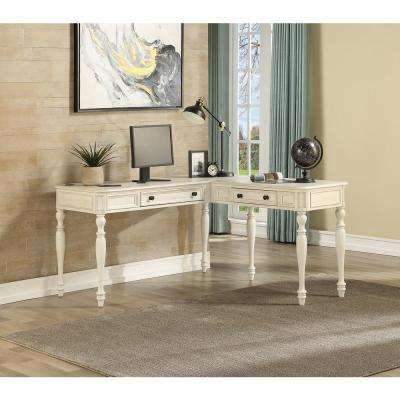 Country Lane White L-Shape Desk with Power in Antique