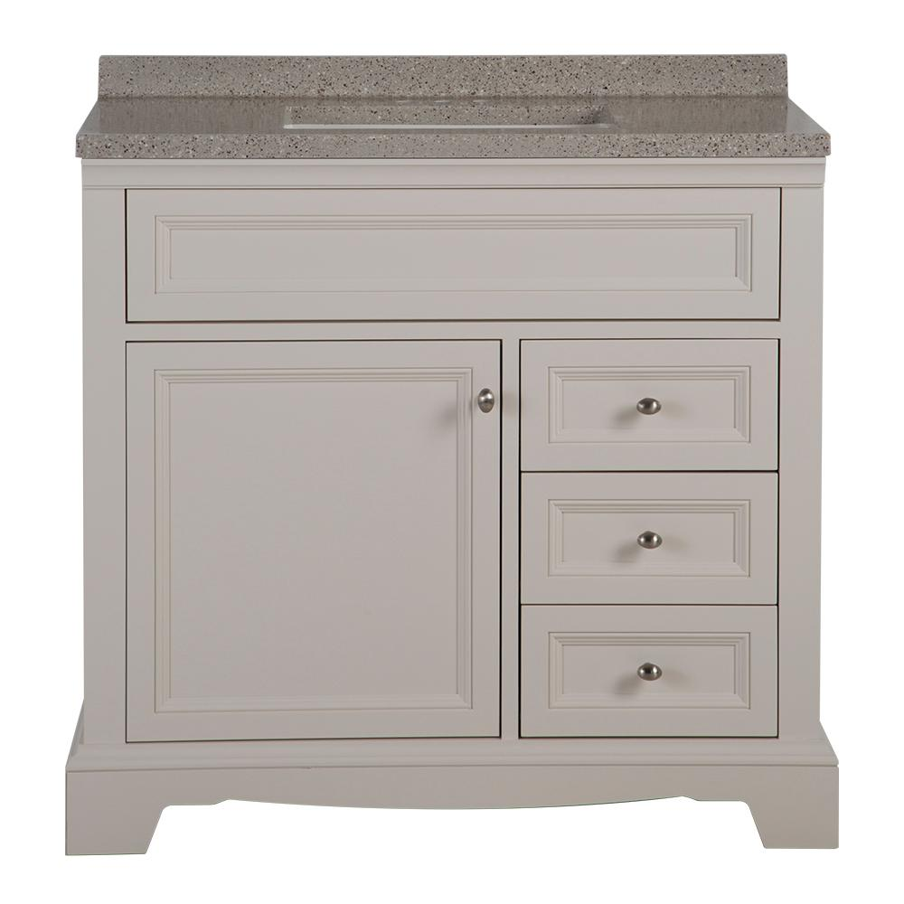 Home Decorators Collection Windsor Park 37 in. W x 19 in. D Bathroom Vanity in Cream with Solid Surface Vanity Top in Autumn with White Sink