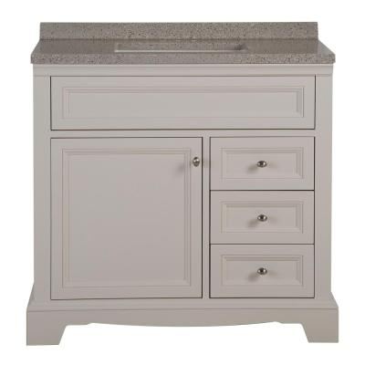 Windsor Park 37 in. W x 19 in. D Bathroom Vanity in Cream with Solid Surface Vanity Top in Autumn with White Sink