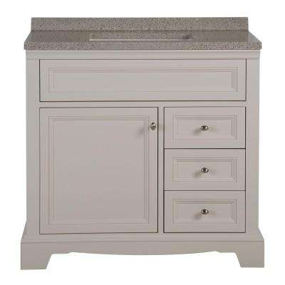 Windsor Park 36 in. W x 19 in. D Bathroom Vanity in Cream with Solid Surface Vanity Top in Autumn with White Basin