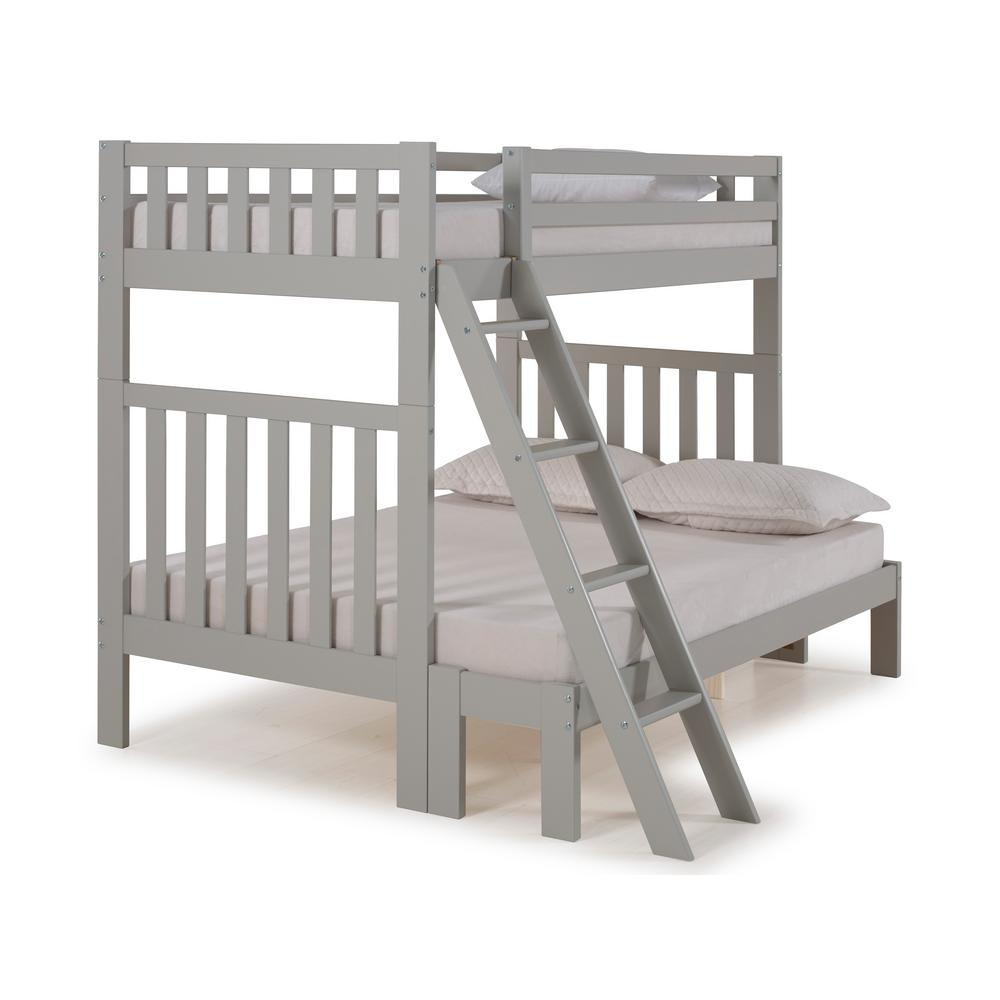 Aurora Dove Gray Twin Over Full Bunk Bed