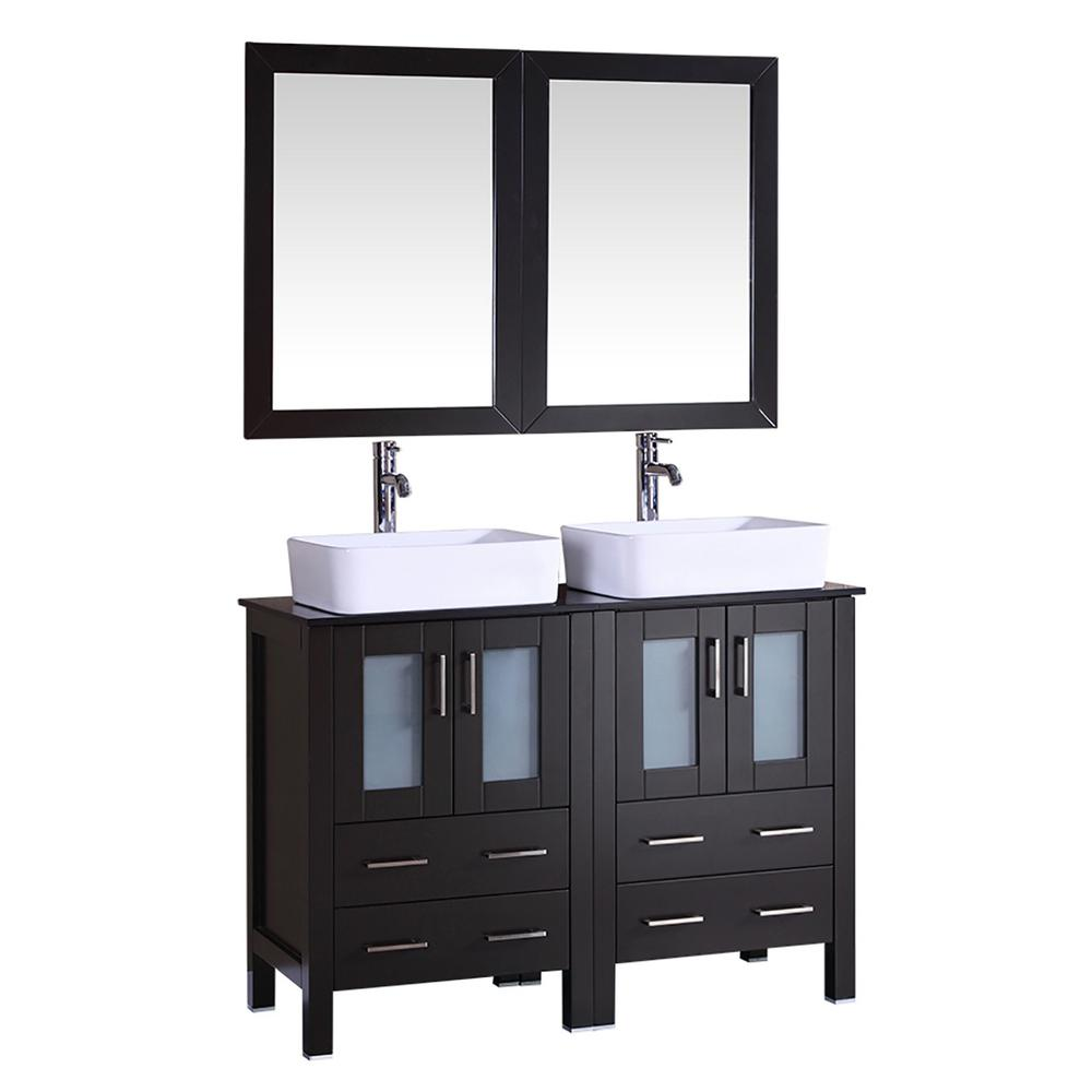 48 in. W Double Bath Vanity with Tempered Glass Vanity Top