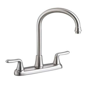 Colony Soft 2 Handle Standard Kitchen Faucet With Gooseneck Spout In  Stainless Steel