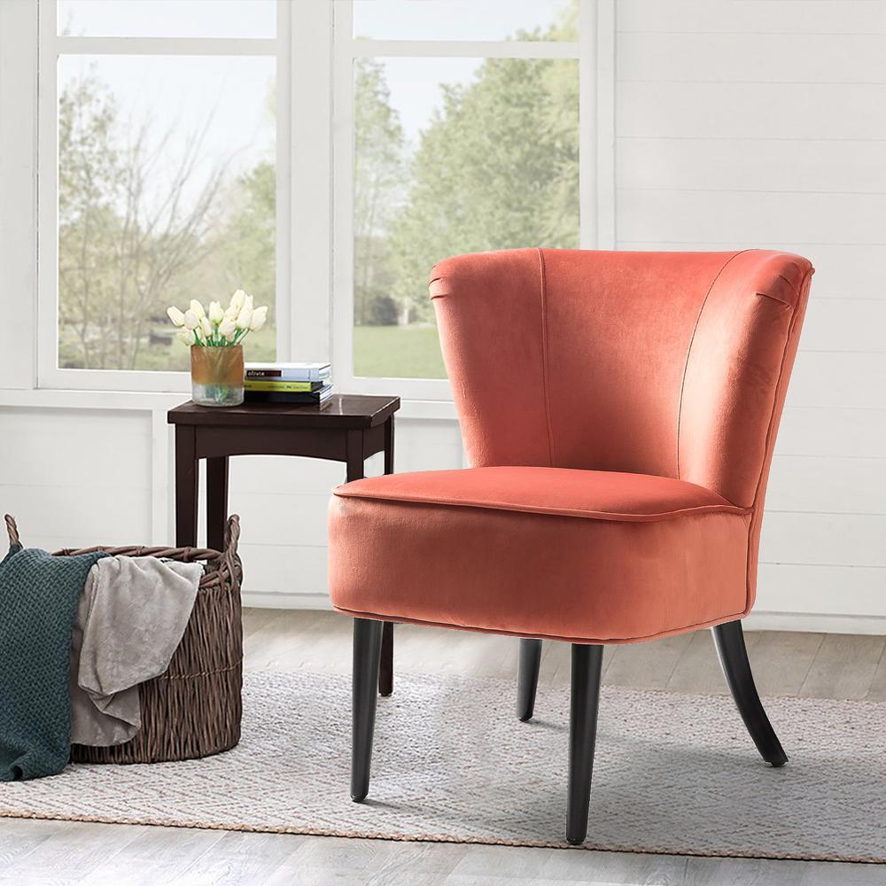 28.9 in. H Velvet Contemparory Side Chair, Rust Red