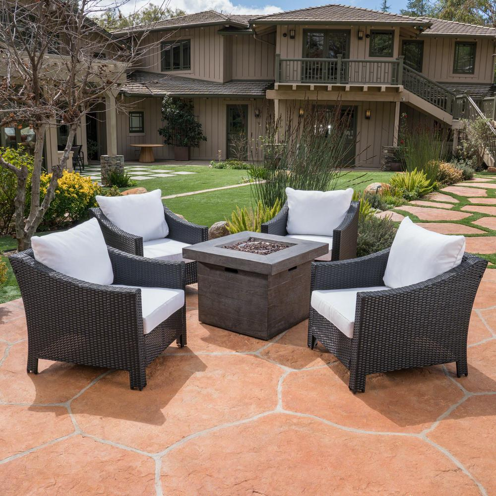 Noble House Antibes Black 5-Piece Wicker Patio Fire Pit ...