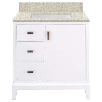 Shaelyn 31 in. W x 22 in. D Bath Vanity in White LH with Engineered Quartz Vanity Top in Sedona with White Sink