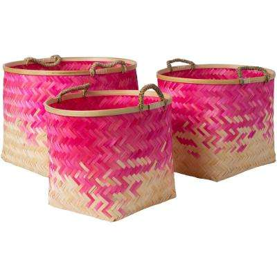 Adely Bright Pink Bamboo 15 in. x 11 in., 16.9 in. x 12.6 in., 18.9 in. x 14.2 in. 3-Piece Basket Set