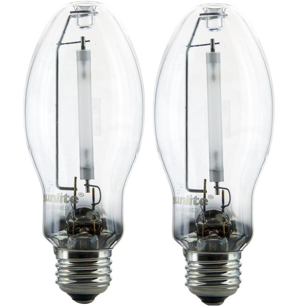 100-Watt ED17 High Pressure Sodium HID Bulb 2100K E26 Base 8500 Lumens Metal Halide Light Bulb (2-Pack)